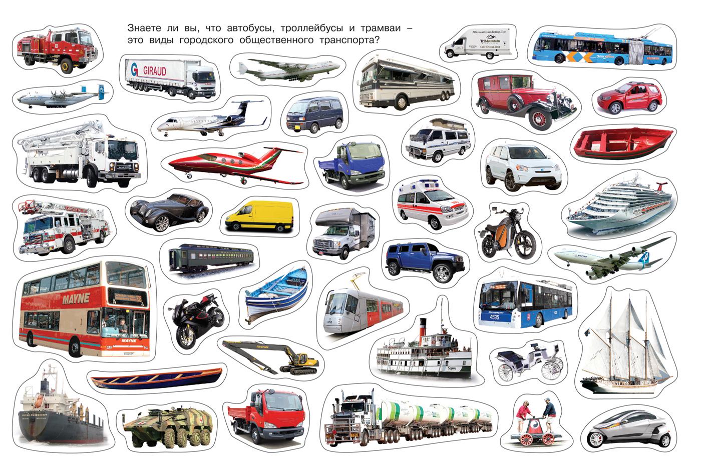 Картинки о транспорте для детей отдельно по видам изделий называется