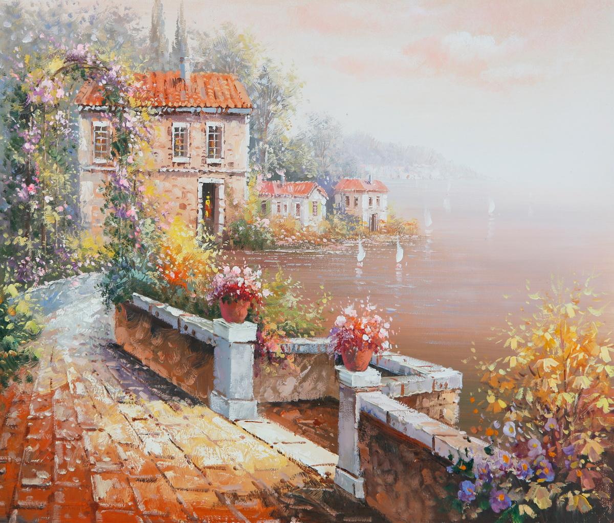 Картинка домик у моря с персиковым садом этих